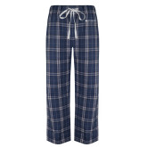 Navy/White Flannel Pajama Pant-Institutional Mark Horizontal