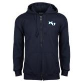 Navy Fleece Full Zip Hoodie-NU Athletic Mark