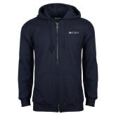 Navy Fleece Full Zip Hoodie-Institutional Mark Horizontal