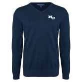 Classic Mens V Neck Navy Sweater-NU Athletic Mark