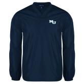 V Neck Navy Raglan Windshirt-NU Athletic Mark