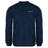 V Neck Navy Raglan Windshirt-Institutional Mark Horizontal