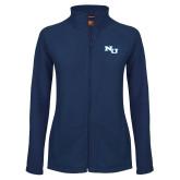 Ladies Fleece Full Zip Navy Jacket-NU Athletic Mark