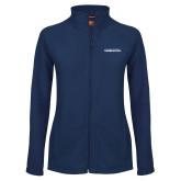 Ladies Fleece Full Zip Navy Jacket-Northwood University Timberwolves Wordmark