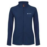 Ladies Fleece Full Zip Navy Jacket-Institutional Mark Horizontal