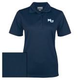 Ladies Navy Dry Mesh Polo-NU Athletic Mark