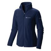 Columbia Ladies Full Zip Navy Fleece Jacket-Institutional Mark Horizontal
