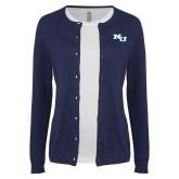 Ladies Navy Cardigan-NU Athletic Mark