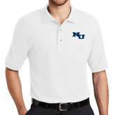 White Easycare Pique Polo-NU Athletic Mark
