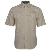 Khaki Short Sleeve Performance Fishing Shirt-Institutional Mark Horizontal