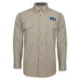 Khaki Long Sleeve Performance Fishing Shirt-NU Athletic Mark