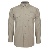 Khaki Long Sleeve Performance Fishing Shirt-Institutional Mark Horizontal