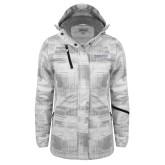 Ladies White Brushstroke Print Insulated Jacket-Institutional Mark Horizontal