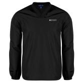 V Neck Black Raglan Windshirt-Institutional Mark Horizontal