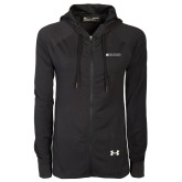 Ladies Under Armour Black Varsity Full Zip Hoodie-Institutional Mark Horizontal
