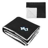 Super Soft Luxurious Black Sherpa Throw Blanket-NU Athletic Mark