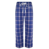 Royal/White Flannel Pajama Pant-Northwood University Timberwolves Wordmark