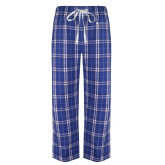 Royal/White Flannel Pajama Pant-Institutional Mark Horizontal