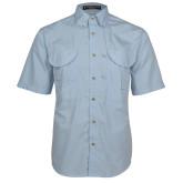 Light Blue Short Sleeve Performance Fishing Shirt-NU Athletic Mark