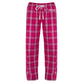 Ladies Dark Fuchsia/White Flannel Pajama Pant-Northwood University Timberwolves Wordmark