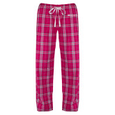 Ladies Dark Fuchsia/White Flannel Pajama Pant-Institutional Mark Horizontal
