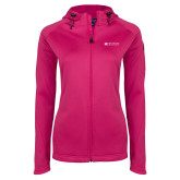 Ladies Tech Fleece Full Zip Hot Pink Hooded Jacket-Institutional Mark Horizontal