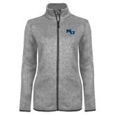 Grey Heather Ladies Fleece Jacket-NU Athletic Mark