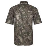 Camo Short Sleeve Performance Fishing Shirt-Institutional Mark Horizontal