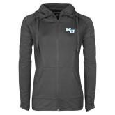 Ladies Sport Wick Stretch Full Zip Charcoal Jacket-NU Athletic Mark