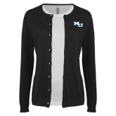 Ladies Black Cardigan-NU Athletic Mark