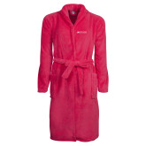 Ladies Pink Raspberry Plush Microfleece Shawl Collar Robe-Institutional Mark Horizontal