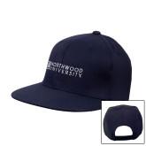 Navy Flat Bill Snapback Hat-Institutional Mark Horizontal