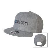 Heather Grey Wool Blend Flat Bill Snapback Hat-Institutional Mark Horizontal