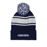 Navy/White Two Tone Knit Pom Beanie w/Cuff-Northwood University Timberwolves Wordmark