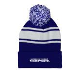 Royal/White Two Tone Knit Pom Beanie w/Cuff-Northwood University Timberwolves Wordmark