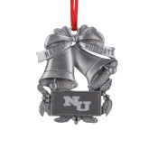 Pewter Holiday Bells Ornament-NU Athletic Mark Engraved
