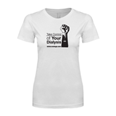 Next Level Ladies SoftStyle Junior Fitted White Tee-Take Control of Your Dialysis