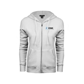 ENZA Ladies White Fleece Full Zip Hoodie-Invent. Improve. Inspire.