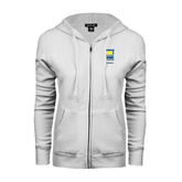 ENZA Ladies White Fleece Full Zip Hoodie-Reclaim Your Life with Portable Home Hemodialysis