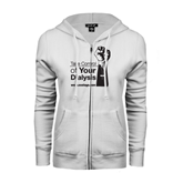 ENZA Ladies White Fleece Full Zip Hoodie-Take Control of Your Dialysis