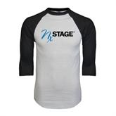 White/Black Raglan Baseball T-Shirt-