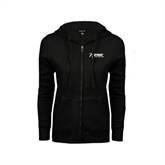 ENZA Ladies Black Fleece Full Zip Hoodie-Invent. Improve. Inspire.