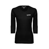 Ladies Black 3/4 Sleeve Scoop Neck-