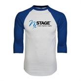 White/Royal Raglan Baseball T Shirt-Invent. Improve. Inspire.