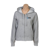 ENZA Ladies Grey Fleece Full Zip Hoodie-Invent. Improve. Inspire.