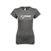 Ladies SoftStyle Junior Fitted Charcoal Tee-