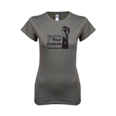 Ladies SoftStyle Junior Fitted Charcoal Tee-Take Control of Your Dialysis