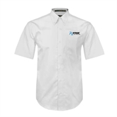 White Twill Button Down Short Sleeve-Invent. Improve. Inspire.