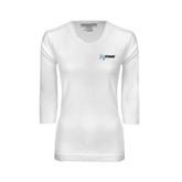 Ladies White 3/4 Sleeve Scoop Neck-
