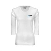 Ladies White 3/4 Sleeve Scoop Neck-Invent. Improve. Inspire.